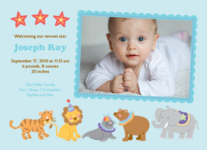 Birth Announcement with photo - Circus 2
