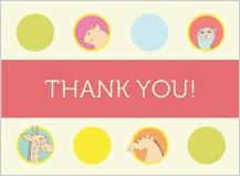 Baby Thank You Card - animal portraits