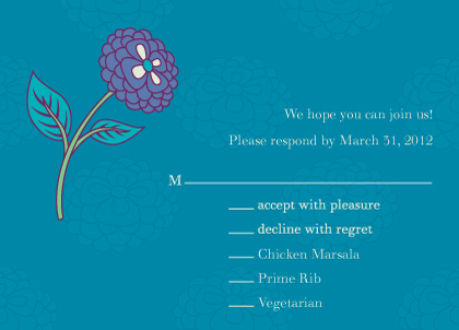 Response Card with menu options - Charm