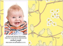 Birth Announcement with photo - canaries