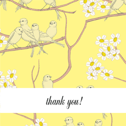 Baby Thank You Card - Canaries