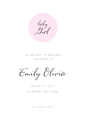 Birth Announcement - Baby Dot
