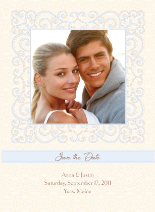 Save the Date Card with photo - Scrolls