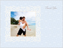 Wedding Thank You Card with photo - scrolls