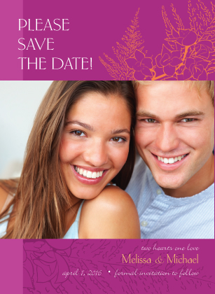 Save the Date Card with photo - Tropical Orchids