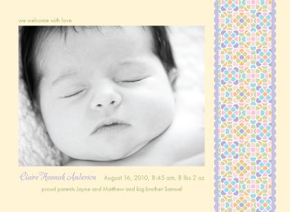 Birth Announcement with photo - Sugar Pop