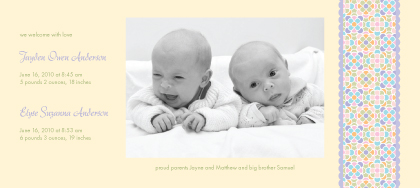 Multiples Birth Announcement with photo - Sugar Pop