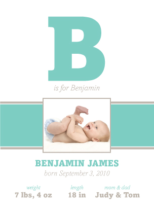 Birth Announcement with photo - B is for Baby
