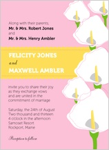 Wedding Invitation - jubilant calla lilies
