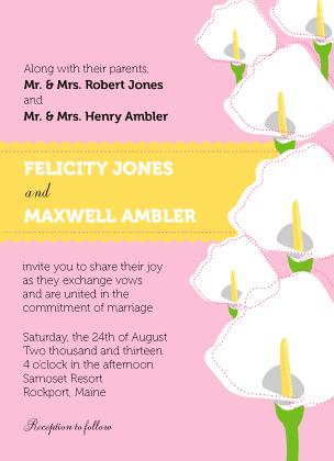 Wedding Invitation - Jubilant Calla Lilies