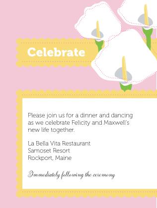 Reception Card - Jubilant Calla Lilies