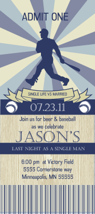 Bachelor Party Invitation - Baseball ticket Bachelor Party