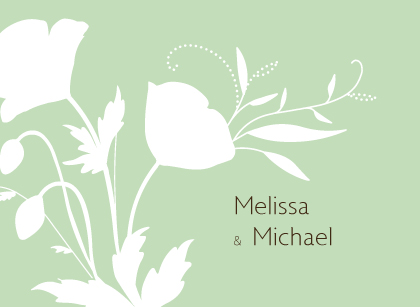 Wedding Thank You Card - Poppy Silhouettes