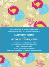 Wedding Invitation - peonies and berries