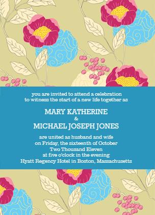 Wedding Invitation - PEONIES AND BERRIES