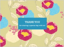 Wedding Thank You Card - peonies and berries