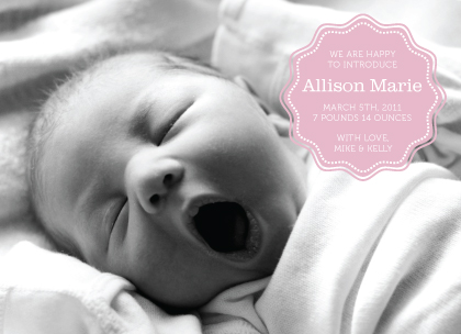 Birth Announcement with photo - Simple & Sweet