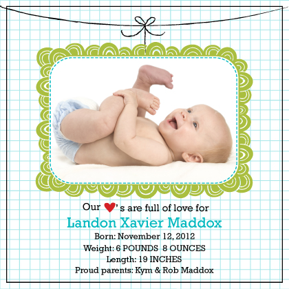 Birth Announcement with photo - Doodle Frame birth announcement