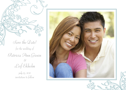 Save the Date Card with photo - Delicate Scrolls
