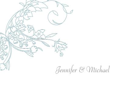 Wedding Thank You Card - Delicate Scrolls