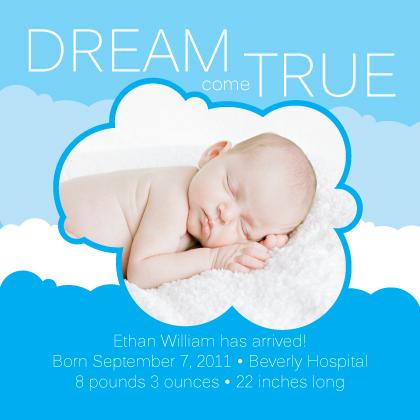 Birth Announcement with photo - Dream Come True