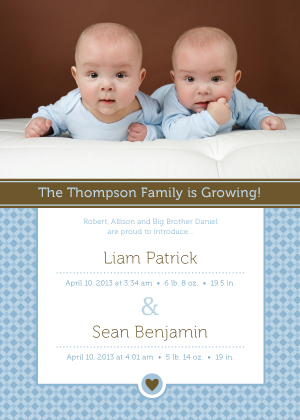 Multiples Birth Announcement with photo - Little Sweetie