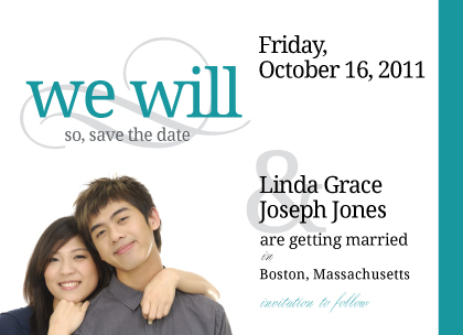 Save the Date Card with photo - We Will