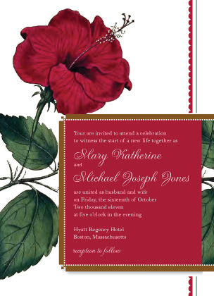 Wedding Invitation - Vintage Hibiscus