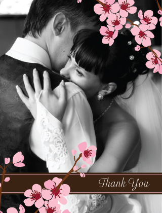 Wedding Thank You Card with photo - cherry blossom time