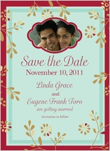 Save the Date Card with photo - flowers and frame