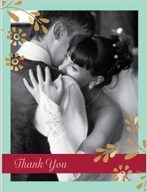 Wedding Thank You Card with photo - flowers and frame