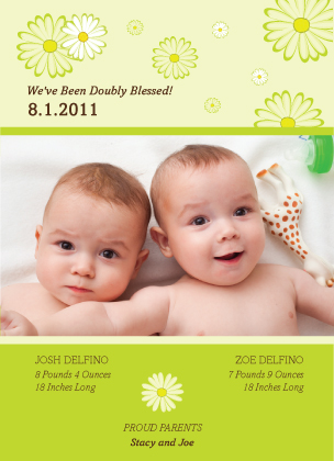 Birth Announcement with photo - Sweet Peas