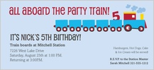 Birthday Party Invitation - choo train