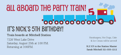 Birthday Party Invitation - Choo Train