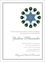 Bar Mitzvah Party Invitation - ringlet of stars