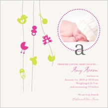 Birth Announcement with photo - blissful swirls