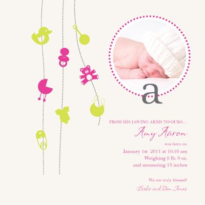 Birth Announcement with photo - Blissful Swirls