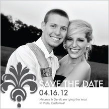 Save the Date Card with photo - bodoni ornament wedding invite