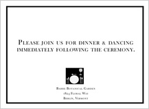 Reception Card - modern wedding