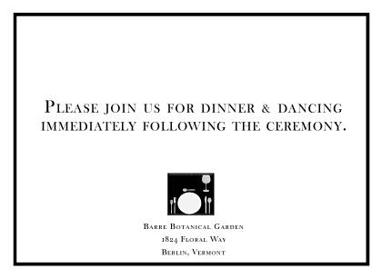 Reception Card - modern wedding