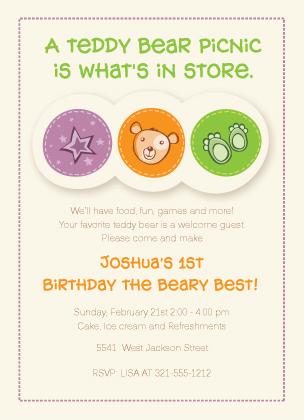 Birthday Party Invitation - Birthday Beary