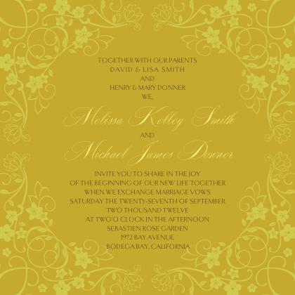 Wedding Invitation - Floral Scroll Frame