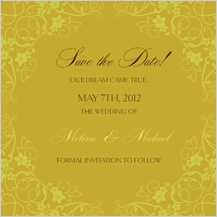 Save the Date Card - floral scroll frame