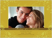 Save the Date Card with photo - floral scroll frame