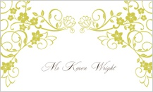 Place Card - floral scroll frame