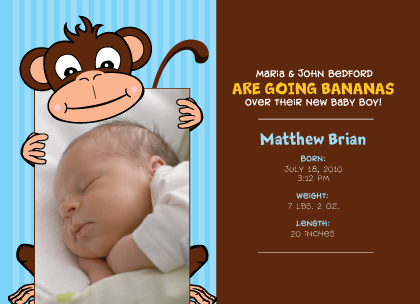 Birth Announcement with photo - Going Bananas