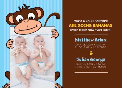 Multiples Birth Announcement with photo - Going Bananas