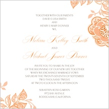 Wedding Invitation - rose garlands