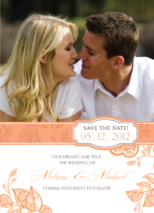 Save the Date Card with photo - Rose Garlands