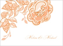 Wedding Thank You Card - rose garlands